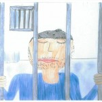 Child drawing of father inside prison cell, holding onto bars