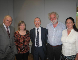 The new Prisoner Ombudsman for Northern Ireland Tom McGonigle (centre) is joined by (left to right): Bobby Smyth (Member of the Forum for Families of People in Prison), Linda Moore (University of Ulster), Dave Weir (Director of Services: Families & Children at NIACRO) and Una Convery (University of Ulster).