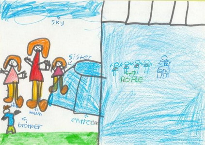Child's drawing of family outside prison