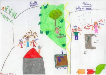 child drawing of family outside prison