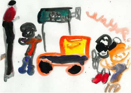 Child painting of family driving to prison