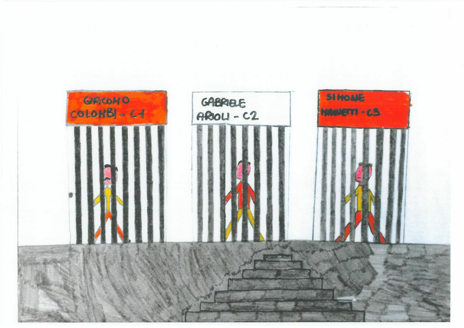 child drawing of prisons inside cells