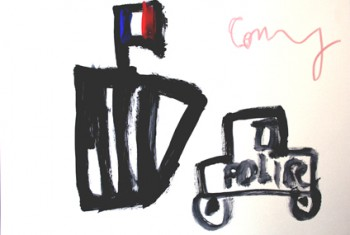 child drawing of police car and prison bars