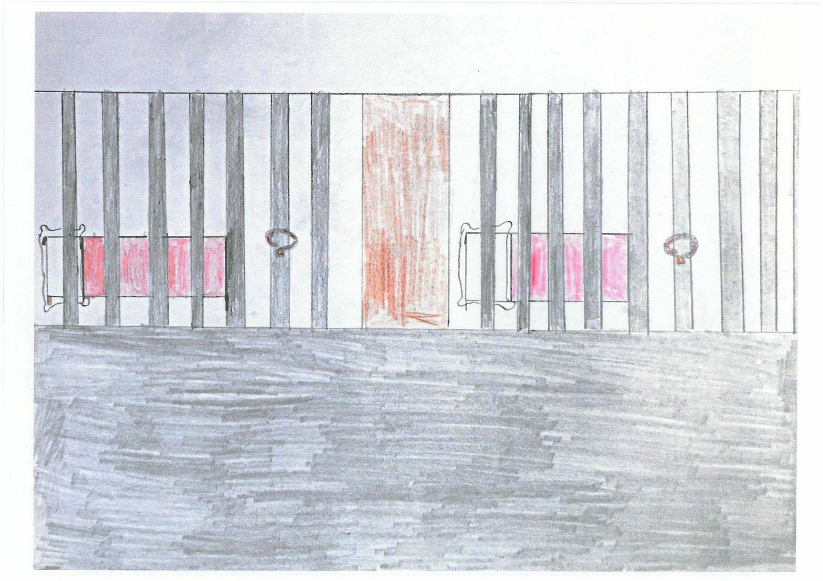 child drawing of prison cell