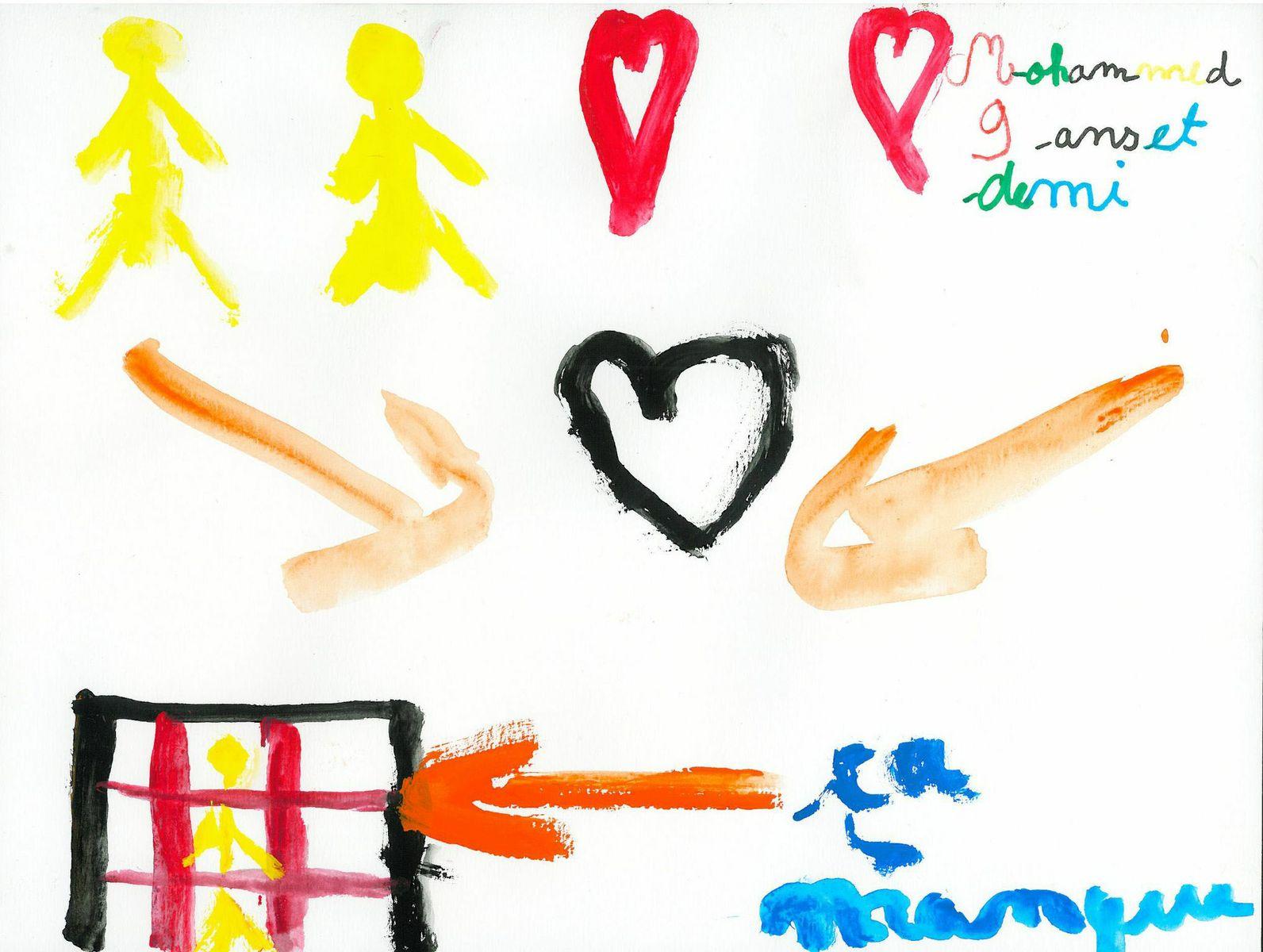 child finger painting of family