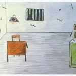 child drawing of inside of prison cell