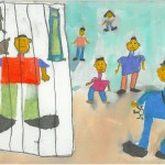 child drawing of family looking in at prisoner behind bars