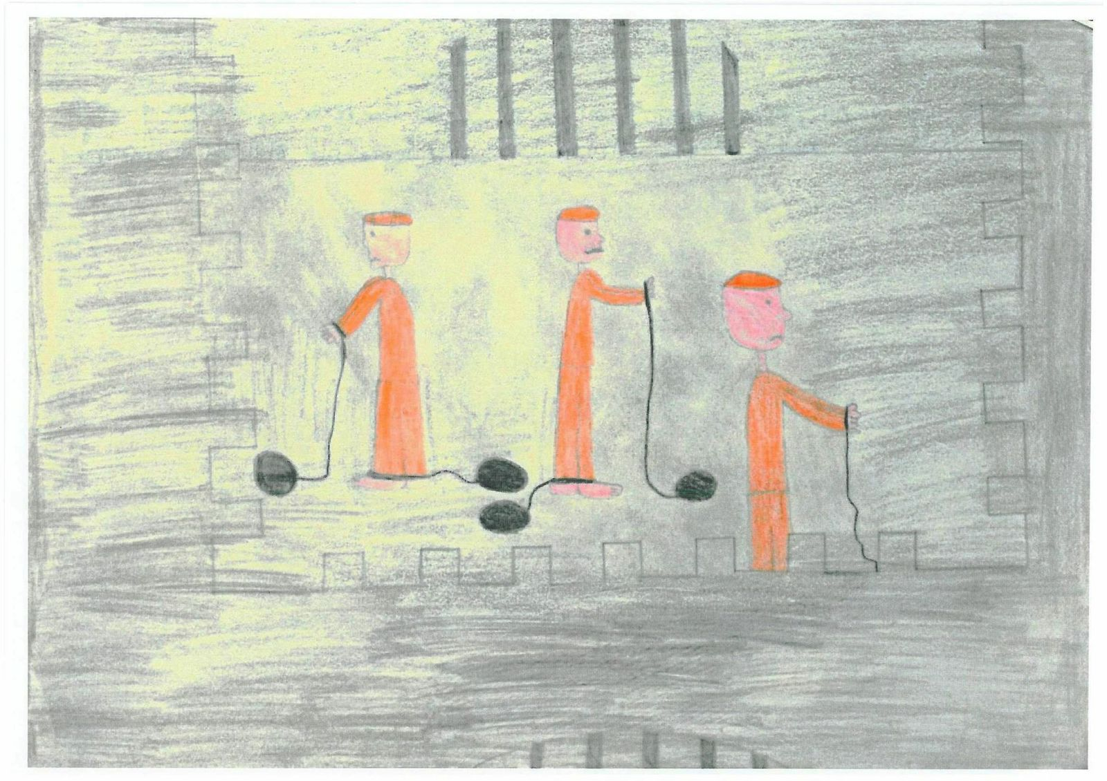 Child's drawing of inmates tied to balls and chains