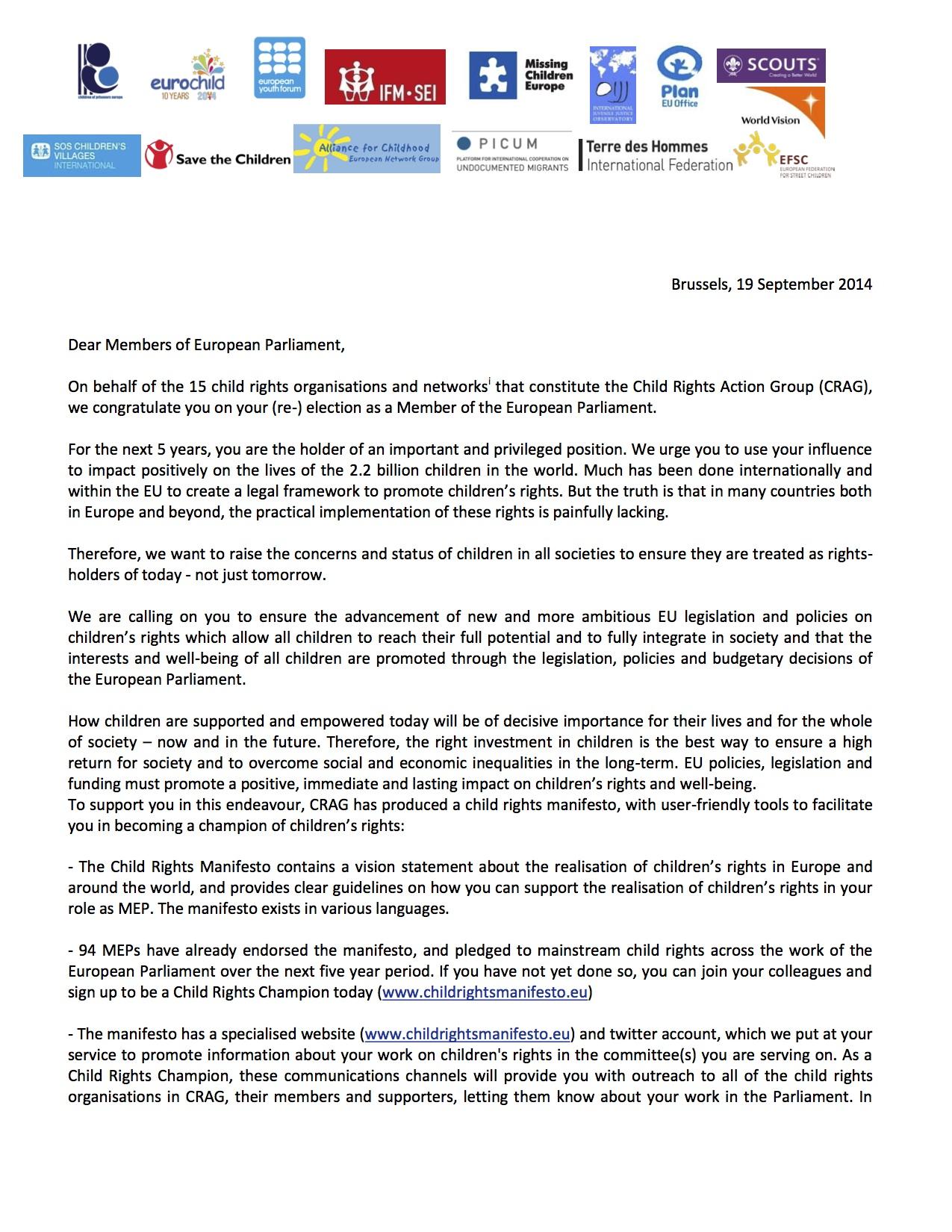 Letter MEPs