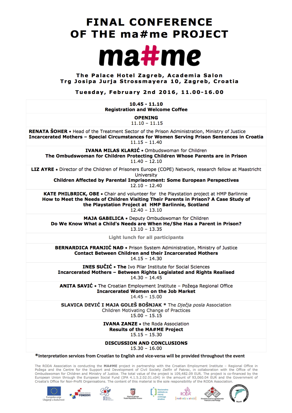 Final Conference of the MA#ME Project, Zagreb, Croatia, 2 February